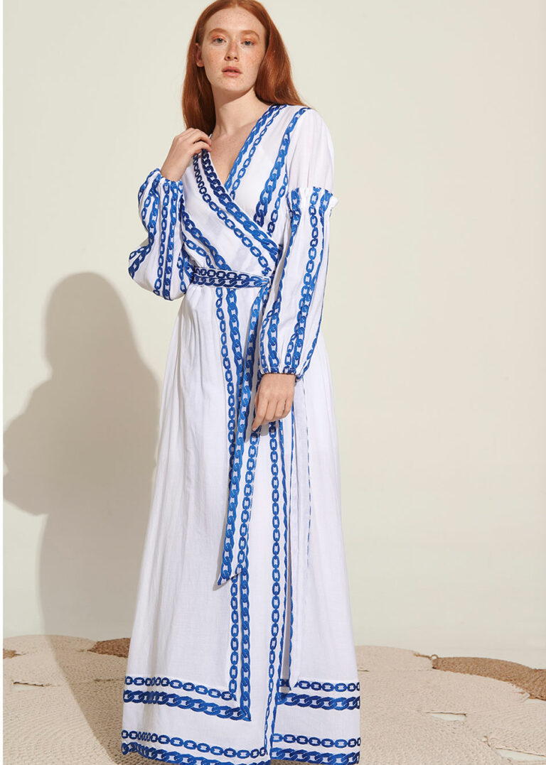 Lace Zeus Embroidered Wrap Dress