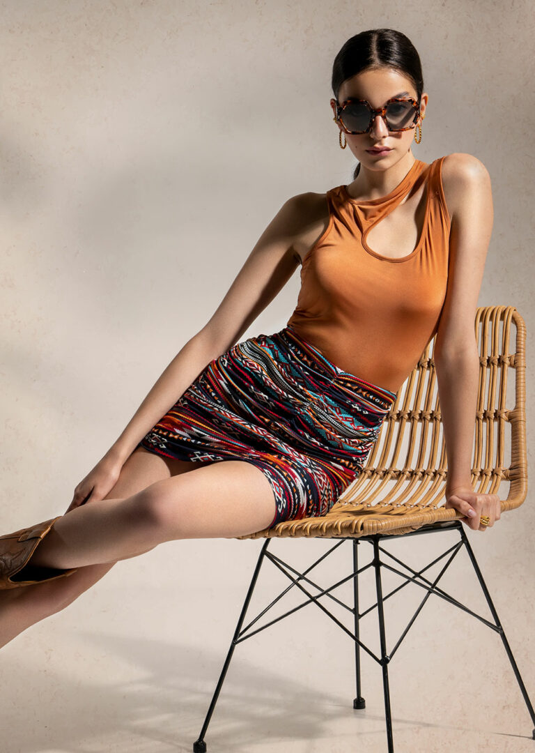 Peace & Chaos Native Ruched Mini Skirt