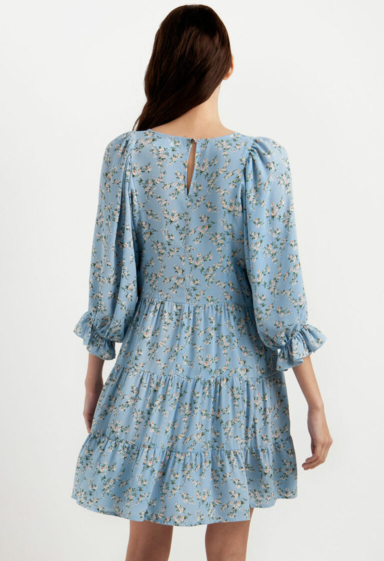 Desiree Blue Dress With Flowers