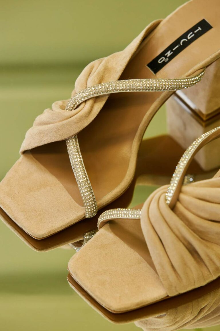 Tucino Croisette Crystal-Embellished Suede Mules