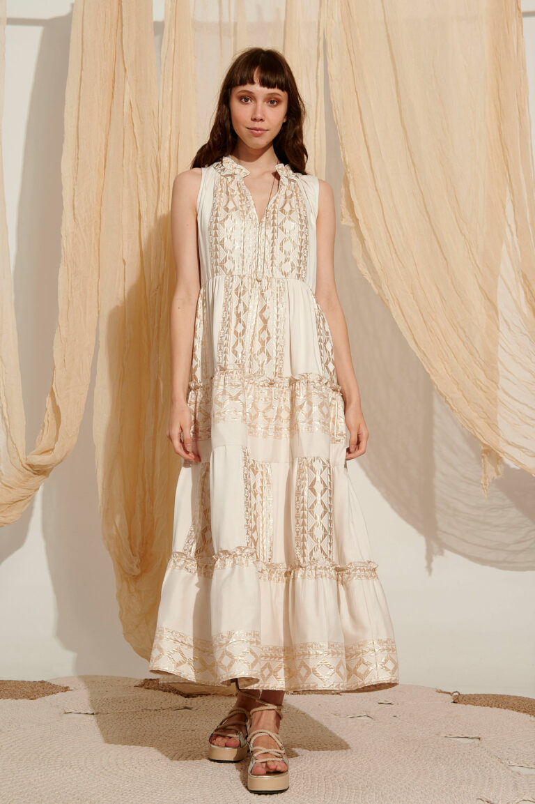Lace Ios Embroidered Maxi Dress