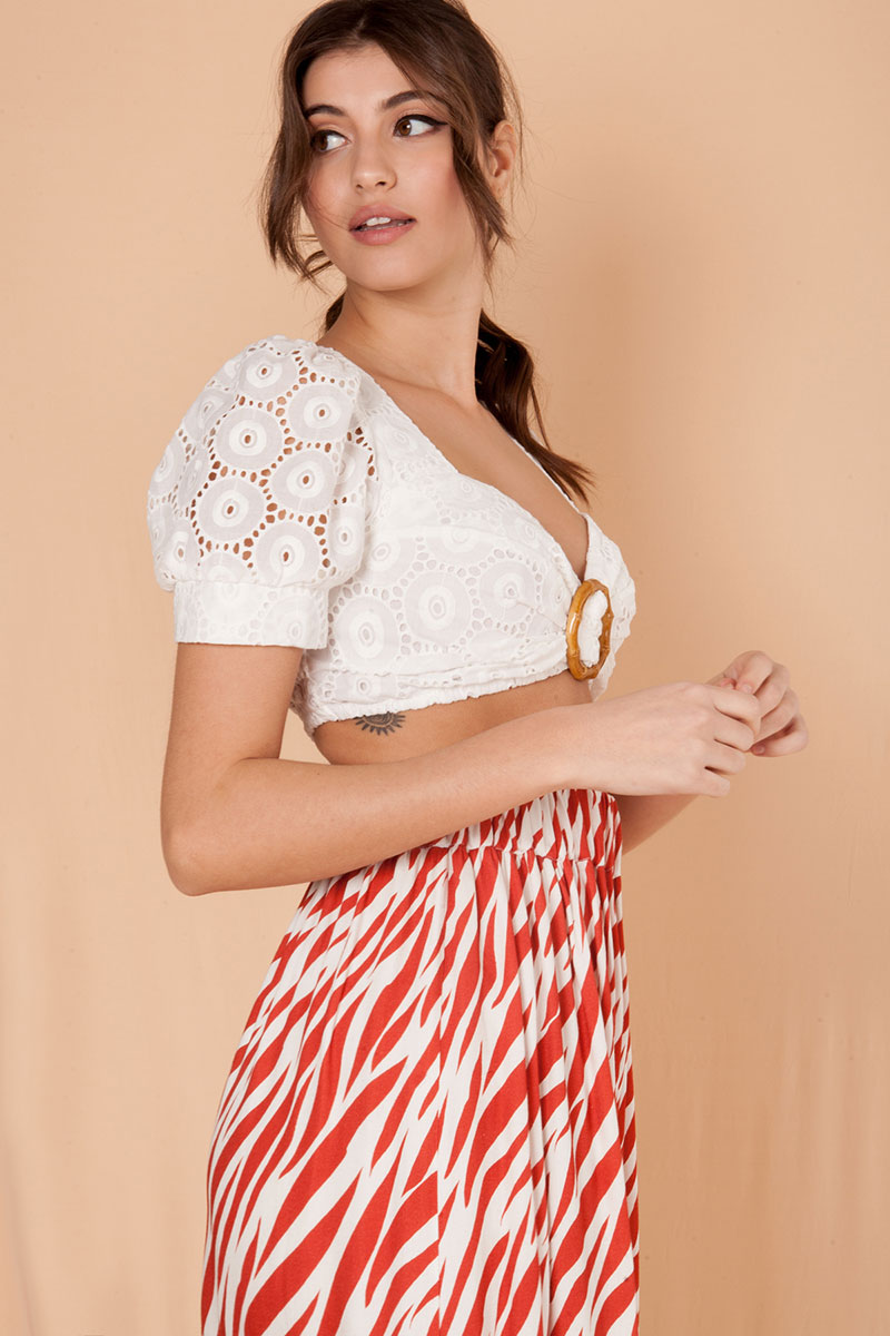 Mallory The Label Dolce White Crop Top