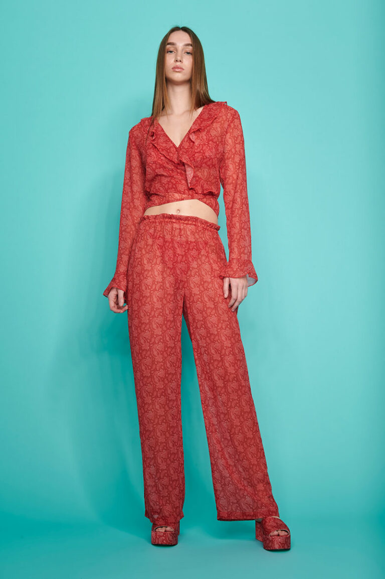 SunSet Go Vada C-Through Pants Red Paisley