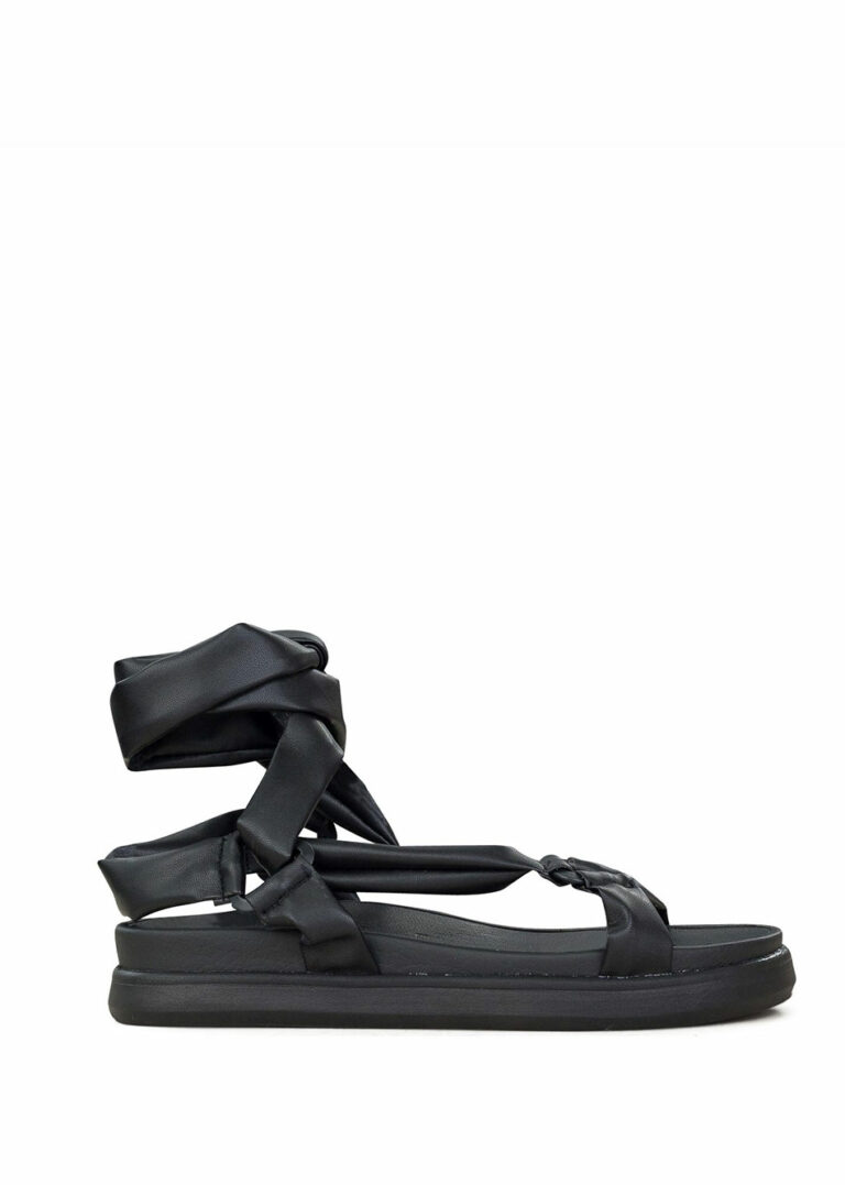 Be On Iggy Leather Flat Sandals Black