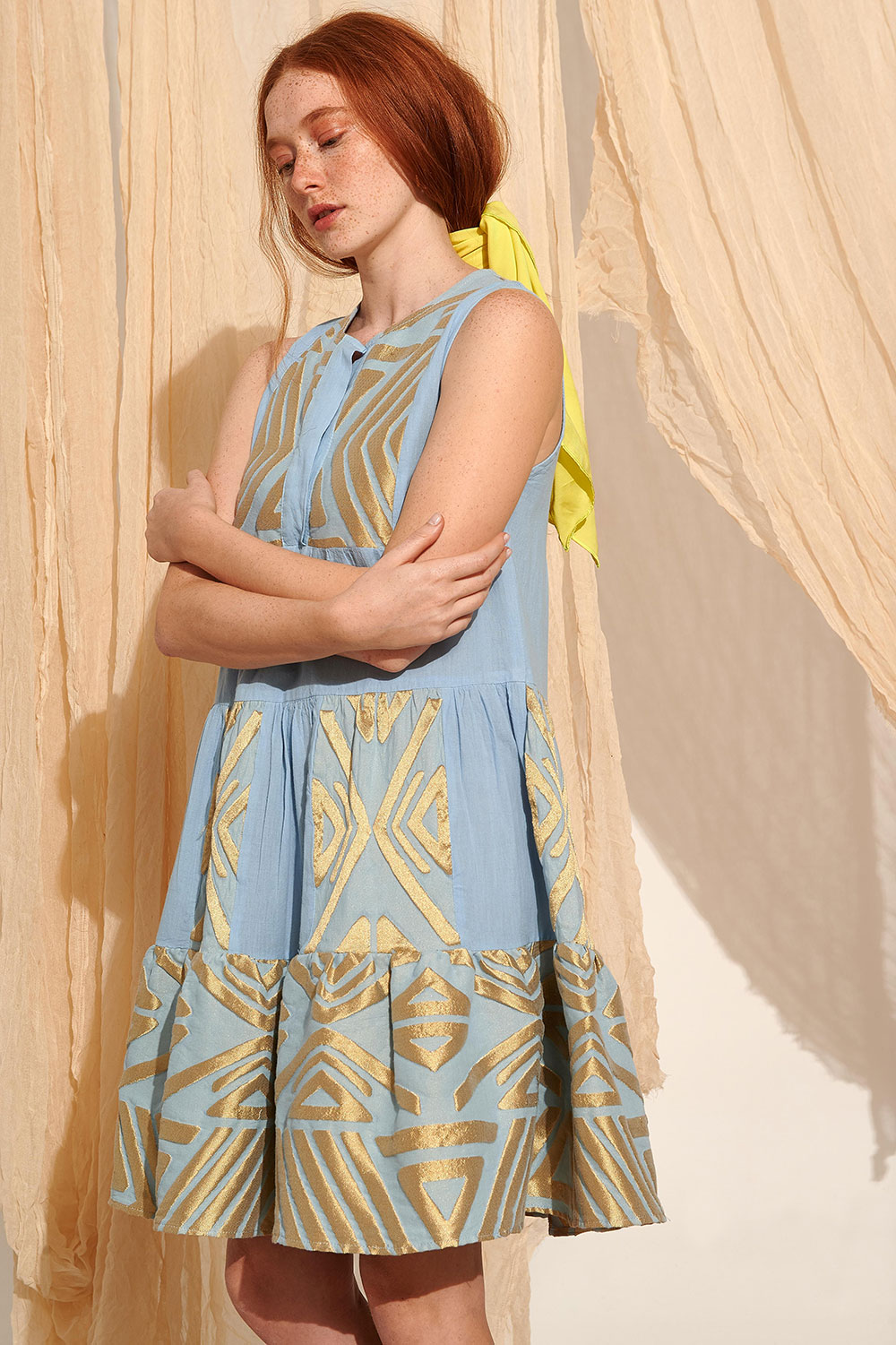Lace Kalymnos Embroidered Dress Blue