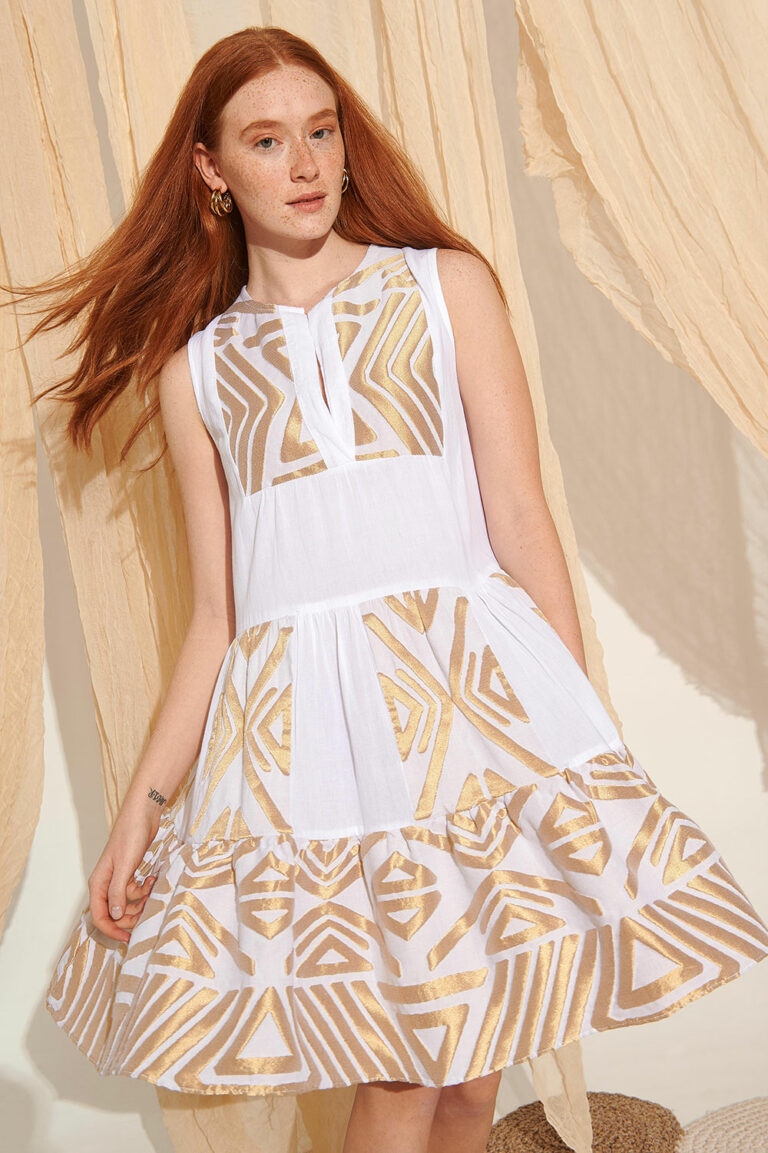 Lace Kalymnos Embroidered Dress White