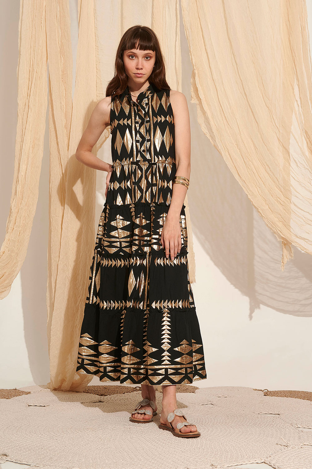 Lace Serifos Embroidered Dress Black