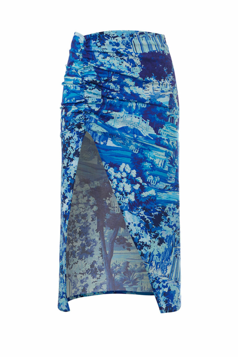 Milkwhite Printed Skirt With Side Vent