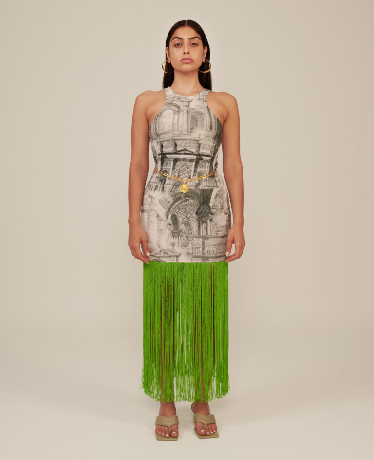 Milkwhite Printed Dress With Green Fringes