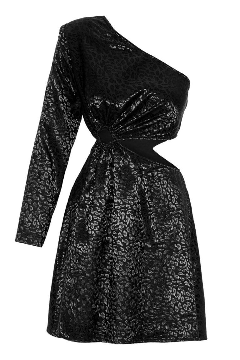 Arioso Jacquard Single Sleeve Mini Dress
