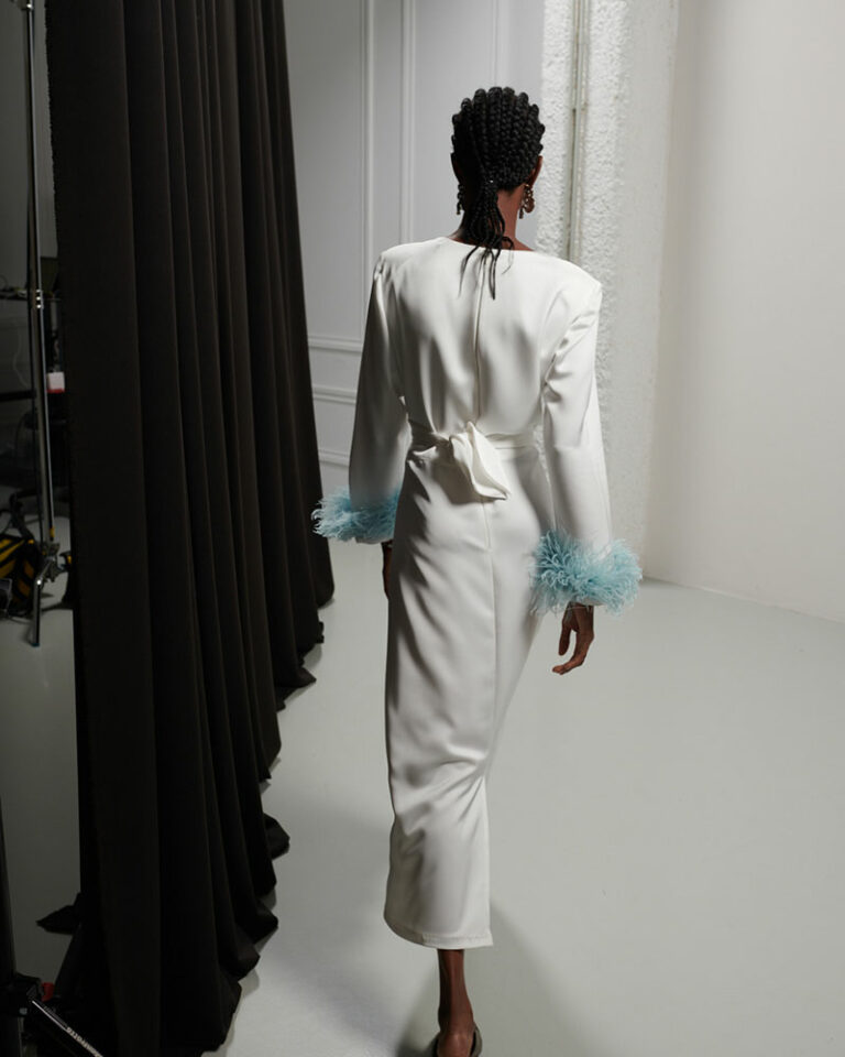 Milkwhite Glossy Iconic Dress With Feathers