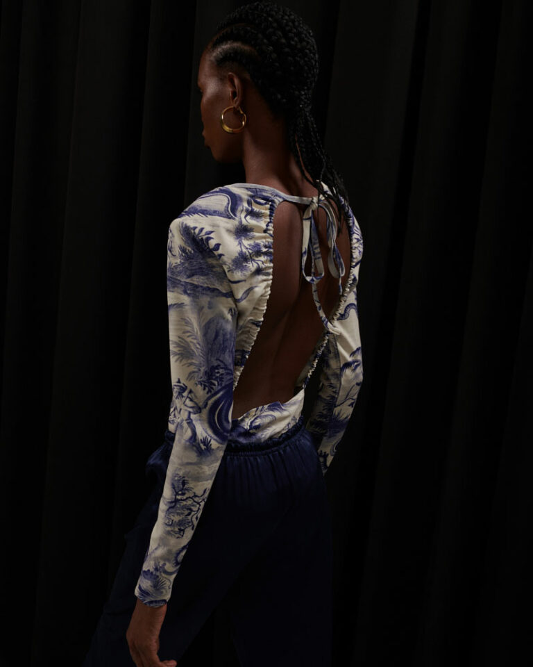 Milkwhite Printed Bodysuit With Back Opening