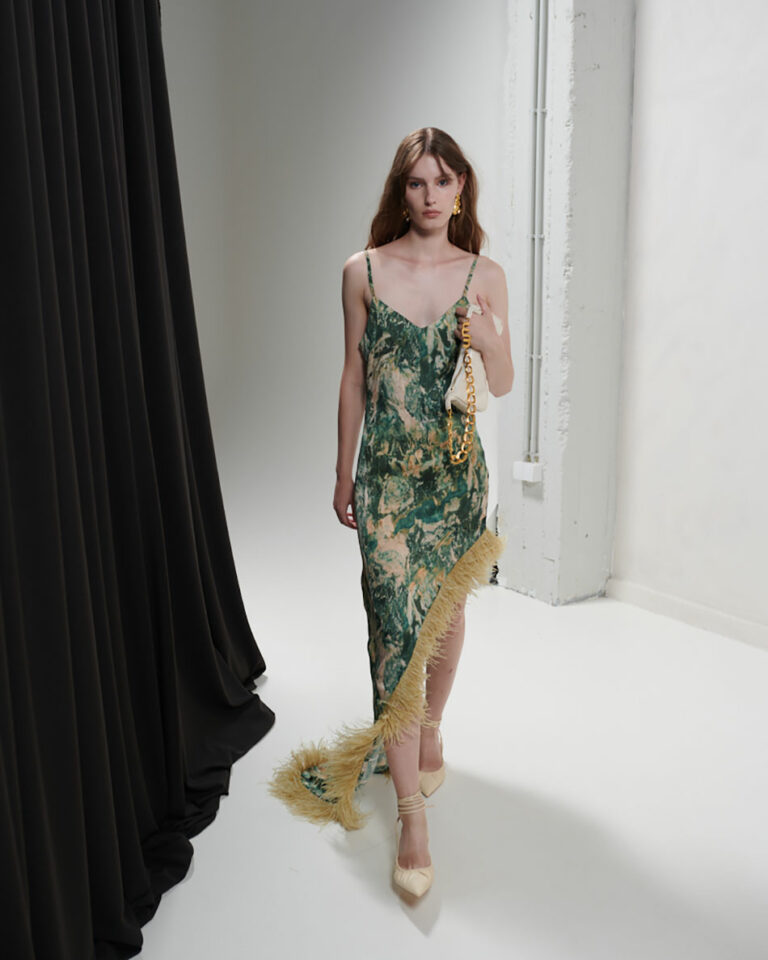 Milkwhite Printed Long Dress With Feathers